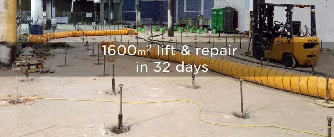 1600m2 foundation lifted, levelled and repaired in 32 days? Impossible? Not for Smartlift commercial concrete foundation repair services.