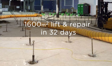 1600m2 foundation lifted, levelled and repaired in 32 days? Impossible? Not for Smartlift.