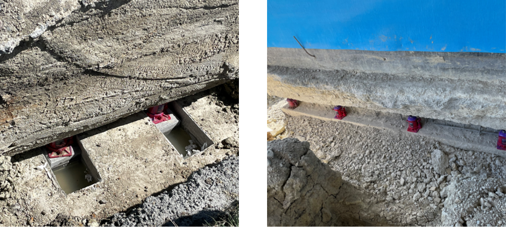Collage featuring SmartLift's patented technique of enhancing and improving existing loadbearing foundations